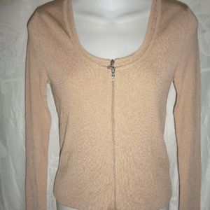 CHANEL Beige Ribbed Tank & Cardigan Twin Set S 4 6
